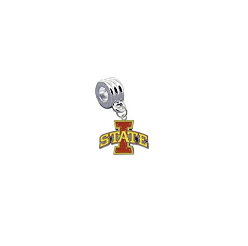 (Iowa State Cyclones Charm with Connector - Universal European Slide On Charm - Classic & Original Style Perfect for Bracelets, Necklaces, DIY Jewelry )
