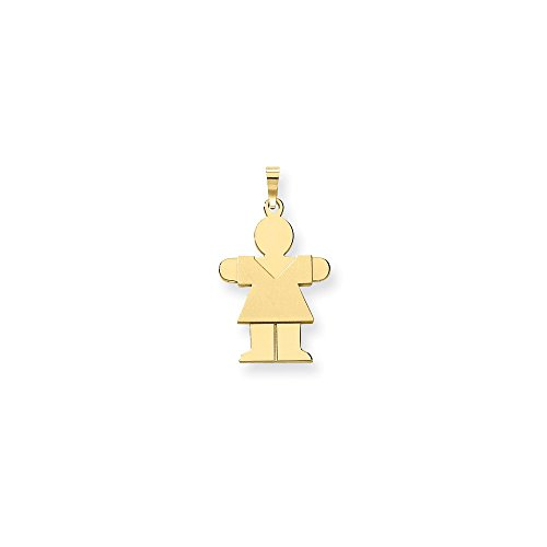 14k Yellow Gold Polished Solid Hugs Girl Charm