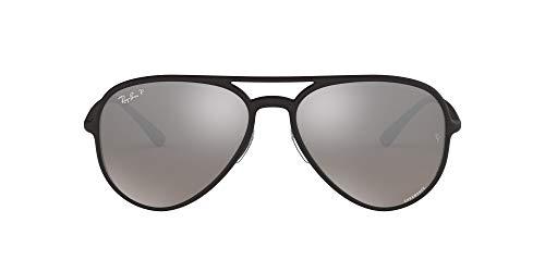 Ray-Ban RB4320CH Chromance Mirrored Aviator Sunglasses, Matte Black/Polarized Silver Mirror, 58 mm (Ray Ban Aviator Sonnenbrillen)