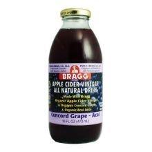 Bragg Organic Concord Grape Acai Apple Cider Vinegar Drink 16 Ounce 12 Per Case.