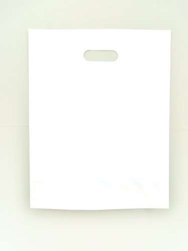 Plastic Bag-White LDPE Die Cut Handle Bag 12