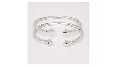 (Better Jewelry Thick Pyramid Ends .925 Sterling Silver West Indian Bangles (Pair 83.6 g/Size 9 (MADE IN USA)))