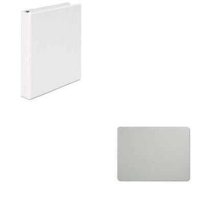 KITQRT7684GUNV20962 - Value Kit - Quartet Oval Office Fabric Bulletin Board (QRT7684G) and Universal Round Ring Economy Vinyl View Binder (UNV20962)