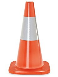 (12 Cones) CJ Safety 18'' Orange Premium PVC Traffic Safety Cones with 6' Reflective Collar (Set of 12) by CJ Safety