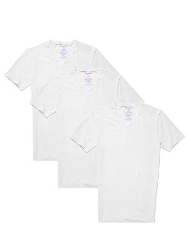 Tommy John Men's Cool Cotton Deep V-Neck Shirt - 3 Pack - Stay Tuck Design - Soft Short Sleeve T-Shirt Undershirt (White, Medium)