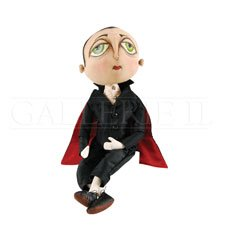 Norbert Vampire Fabric Figurine with Hand-Painted Face and Intricate Detailing -