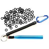 Wacky Worm Rig Tool With Wacky O-Rings(100 pcs) For Wacky Rigging Plastic Senko Style Worms & StickBaits Includes Lanyard (Blue Tool PLUS 100 ()