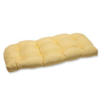 Pillow Perfect Wicker Loveseat Cushion with Yellow Sunbrella Fabric [並行輸入品]   B07QVFY576