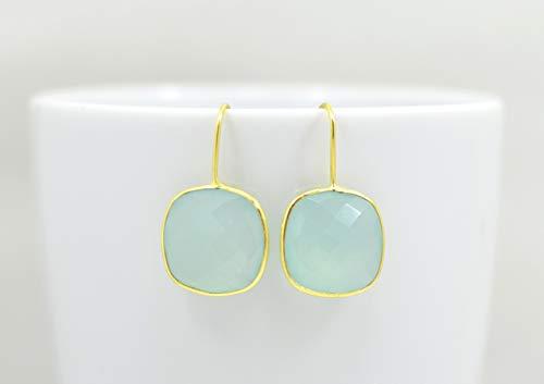 Chalcedony Gold Ring - Square Aqua Chalcedony Earrings Gold, Aqua Chalcedony Earrings Silver, Gold Aqua Chalcedony Earrings