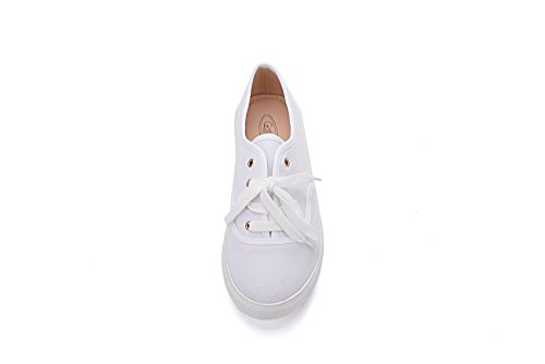 Mila Lady Blythe Dames Canvas Bloemen Veter Platte Sneaker Wit