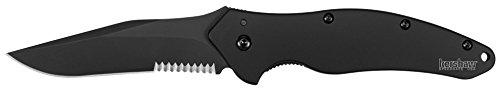 Kershaw-Black-Shallot-Knife-with-Tungsten-DLC-Black-coating-on-Blade-Handle-and-Partially-Serrated-Blade