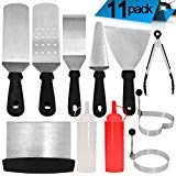 Griddle Accessories - 11 Pcs Professional Heavy Duty Stainless Steel BBQ Spatula Grill Tool Set for Flat Top Cooking, Camping and Tailgating by GoodtoU