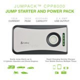 Cobra JumPack CPP8000 3-in-1 Portable Power Car Jump Starter: Battery Charger, Power Pack & LED Flash Light with Jumper Cables, 360 Amp Peak, 6000mAh for Instant Power to Car, SUV, Motorcycle or Boat