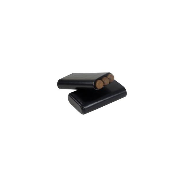 Don Salvatore 3 finger 64 ring gauge cedar lined Cigar Case (Black)