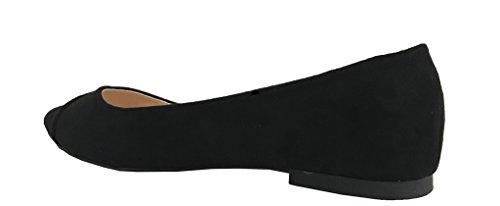 Turbinare-91! Scarpa Da Donna A Punta Slitta Su Ballerina Nero In Ecopelle Scamosciata