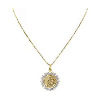 Gold Plated Brass Chain and Deluxe Gift Box Bonyak Jewelry Gold Over Sterling Silver Miraculous with 16 in