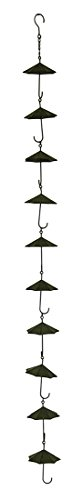 Zeckos Metal Rain Chains Copper Finish Metal Umbrellas Rain Chain W/Attached Hanger 48 Inch 4.5 X 61 X 4.5 Inches Brown by Zeckos