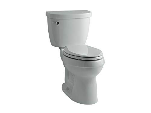 KOHLER K-3589-95 Cimarron Comfort Height Elongated 1.6 gpf Toilet with AquaPiston Technology, Less Seat, Ice Grey