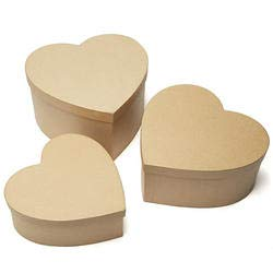 Factory Direct Craft Bulk Paper Mache Large Heart Box Set   Package of 12 Pieces