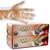 1000 Large Size Disposable Poly Gloves, Powder Free, Smooth Touch, Food Service Grade, Polyethylene, Non-Sterile [2x500 Pack]