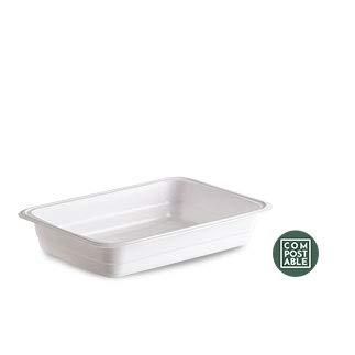 100 bandejas orgánicas de 600 cc, de color blanco, compostables ...
