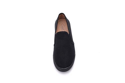 Mila Lady Cornelia Canvas Slip On Tribal Pattern Fashion Sneakers, Negro