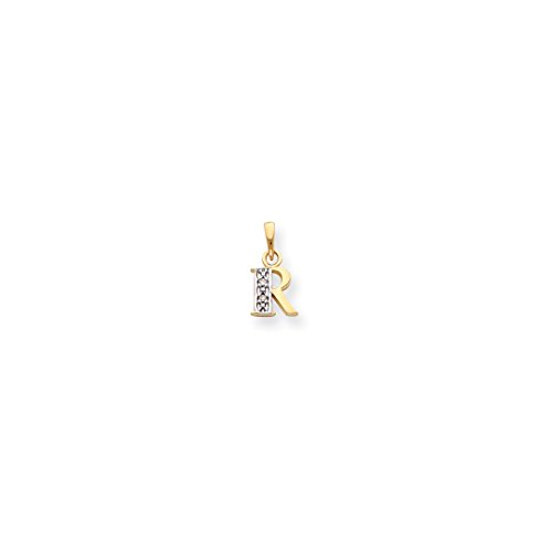 ICE CARATS 14kt Yellow Gold .01ct Diamond Initial Monogram Name Letter R Pendant Charm Necklace Fine Jewelry Ideal Gifts For Women Gift Set From Heart Diamond Initial Pendant Set