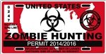 Yellow Dog United States Zombie Hunting License Plate