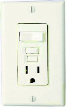 Single Pole Switch Outlet - Eaton VGFS15V-MSP 15-Amp 125-Volt Combination Ground Fault Circuit Interrupter with 20-Amp Rated Feed-Through Single-Pole Switch, Ivory