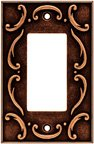 Wall Plates, French Lace Series Single Decorator, Sponged Copper Finish