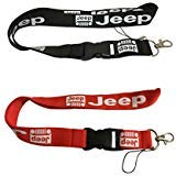 Set 1pcs Black Jeep + 1pcs Red Jeep Auto Lanyard Workout Gear Office And Auto Car Keychain Accessories Motorbike Superbike Lanyard With Webbing Strap Quick Release Buckle