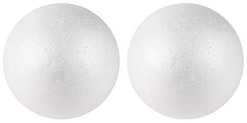 Craft Foam Balls - 2-Pack Large Smooth Round Polystyrene Foam Balls, Craft Supplies, Perfect for Art, Ornaments DIY, Wedding Decoration, Science Modeling, School Projects, White, 6 Inches Diameter ()