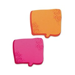 Thought Bubble Notes, 2 3/4 X 2 3/4, Neon Orange/magenta, 75-Sheet Pads, 2/set By: Redi-Tag