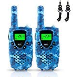 FAYOGOO Walkie Talkies for Kids, 22-Channel FRS/GMRS Radio, 4-Mile Range Two Way Radios for Kids with Flashlight and LCD Screen (Camo Blue Walkie Talkies)
