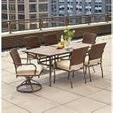 Hampton Bay Pin Oak 7 Piece Wicker Outdoor Dining Set With Oatmeal Cushion