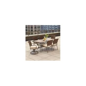 wicker outdoor dining furniture australia bay pin oak piece set oatmeal cushion rattan table and chairs setting round