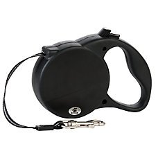 Top Paw Retractable Tape Leash- Medium (for dogs up to 80 lbs) 16 ft Black
