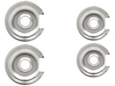 (KS) 2 WB32X10012 2 WB32X10013 GB3 Chrome Range Burner Drip Pans Exact Replacement for General Electric - Large Pan 8