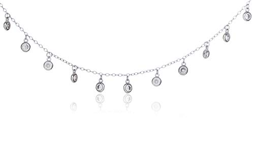 SilverLuxe Sterling Silver Dangling Cubic Zirconia Choker Necklace Rhodium Plated 16