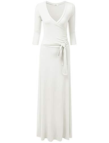 - NINEXIS Women's V-Neck 3/4 Sleeve Waist Wrap Front Maxi Dress, OFFWHITE M