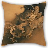 Alphadecor Throw Pillow Case 20 X 20 Inches / 50 By 50 Cm(twin Sides) Nice Choice For Chair,car,dinning Room,teens Boys,boys,wedding Oil Painting KanÅ HÅgai, Japanese - Two Dragons In Clouds (Neo Skin Jumpsuit)