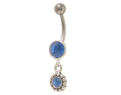 Dangler Belly Button Ring with Blue Jewels Belly Dangler Navel Rings