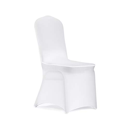 Peomeise 12pcs Stretch Spandex Chair Cover for Wedding Party Dining Banquet Event (White, 12)