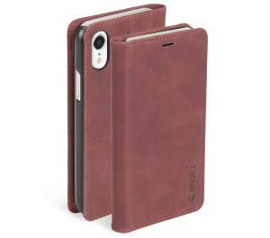 (Krusell Sunne 4 Card FolioWallet Case for Apple iPhone XR - Premium Leather Case, Vintage Red (61475) )