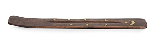 Helping Children Succeed : Traditional Handmade Incense Stick Holder, Ash-Catcher with Moon and Stars Brass Inlay (1 Pack Brown, Brown) Brass Inlay Stick Incense Burner