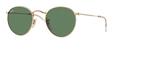 (Ray Ban RB3447 ROUND METAL Sunglasses001 53M Arista/Crystal Green For Men For Women)