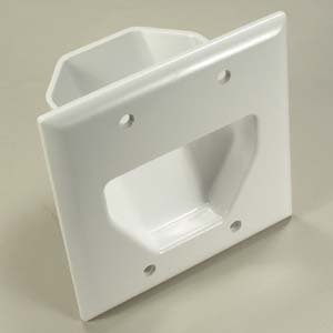 InstallerParts 2-Gang Recessed Low Voltage Cable Plate – White – Mounting Screw Included