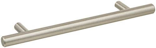 "AmazonBasics Euro Bar Cabinet Handle (1/2"" Diameter), 7.38"" Length (5"" Hole Center), Satin Nickel, 25-Pack"