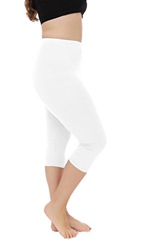 Women's Light Weight Soft Plus Size Capri Leggings Cropped Curvy Leggings Pants,White,3XL ()