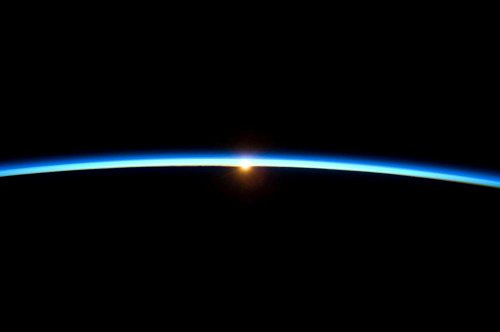 Quality Prints - Laminated 27x18 Vibrant Durable Photo Poster - Sunrise Atmosphere Earth Blue Planet Globe Space Universe All Night Sky Sky Astronautics NASA Space Travel Aviation Astronomy Science